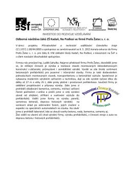 Exkurze PREFA 6. 5. 15