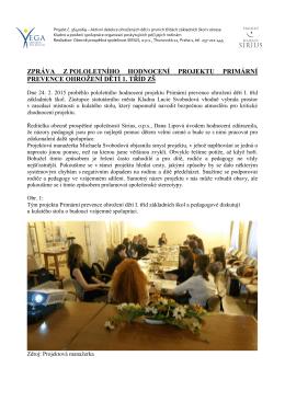 Zpráva z půlročního hodnocení projektu