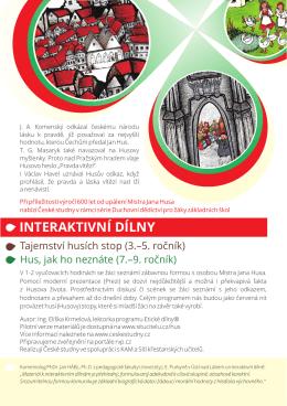 Leták k interaktivním dílnám a kampani Husovy stopy