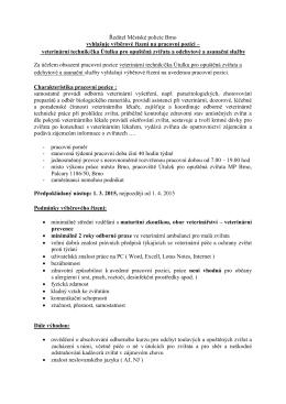 veterinární technik/čka Útulku pro