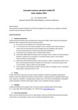 Výstavní podmínky a přihláška 2015.