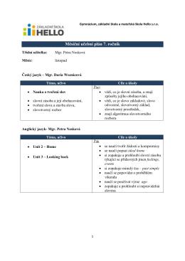 Měsíční plán učiva