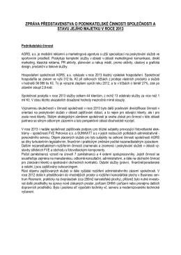zpráva představenstva o podnikatelské činnosti a stavu