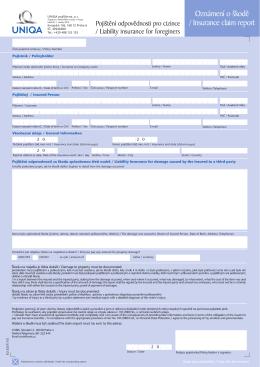 Oznámení o škodě / Insurance claim report