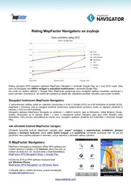 Rating MapFactor Navigatoru se zvyšuje