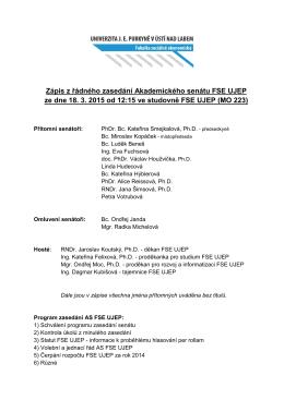 Zápis z řádného zasedání Akademického senátu FSE UJEP ze dne