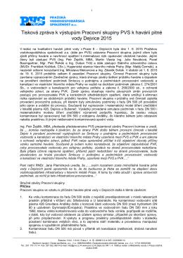k výstupům pracovní skupiny PVS havárii Dejvice 201530 6 2015