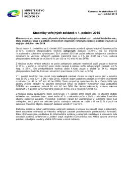 Komentář ke statistikám veřejných zakázek za 1. pololetí 2015
