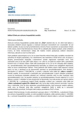 Vyjádření ÚHOS k cenové regulaci (5.11.2015)