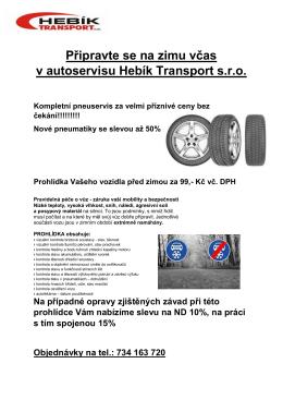 Připravte se na zimu včas v autoservisu Hebík Transport s.r.o.