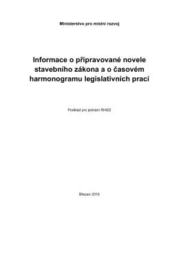Informace o připravované novele stavebního zákona a o časovém
