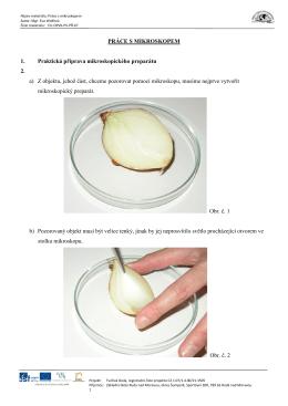 PRÁCE S MIKROSKOPEM 1. Praktická příprava mikroskopického