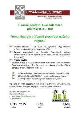 7. 12. 2015 8:00 Téma: Energie a životní prostředí našeho regionu