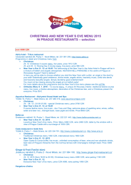 CHRISTMAS AND NEW YEAR´S EVE MENU 2015 IN PRAGUE