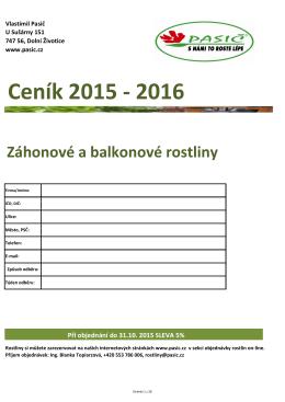 Ceník záhových a balkonových rostlin 2015-2016