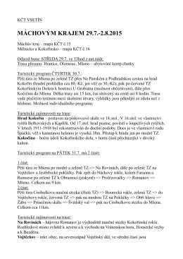 MÁCHOVÝM KRAJEM 29.7.-2.8.2015