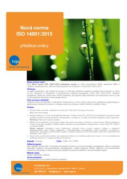 Nová norma ISO 14001:2015 příležitost změny