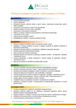 Přínosy a kompetence získané v rámci programu JA Firma