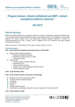 """Program školení """"Dotační příležitosti pro MSP v oblasti - EEB-CZ"""