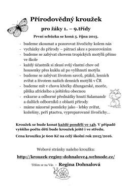 Přírodovědný kroužek pro žáky 1.