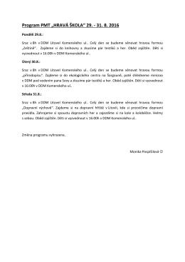 "Program PMT ""HRAVÁ ŠKOLA"" 29."