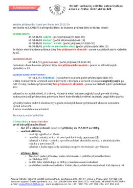 kritéria přijímacího řízení pro školní rok 2015/16 pro školní rok 20015