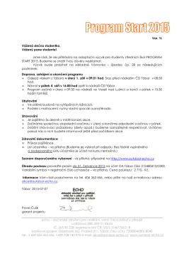 Informace pro účastníky Programu Start – 1.L
