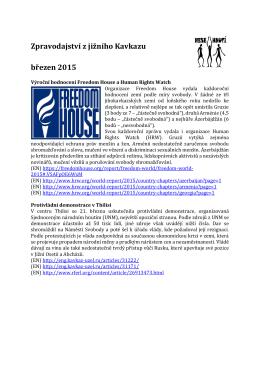 Zpravodajství z jižního Kavkazu březen 2015