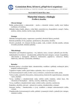 Biologie 2016 - Gymnázium, Brno, Křenová 36