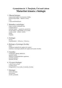 Tematické okruhy učiva k maturitní zkoušce z biologie