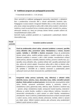 2) Vzdělávací program pro pedagogické pracovníky