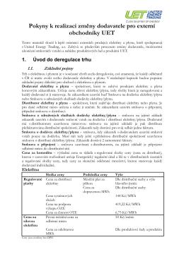 Pokyny k realizaci změny dodavatele pro externí obchodníky UET