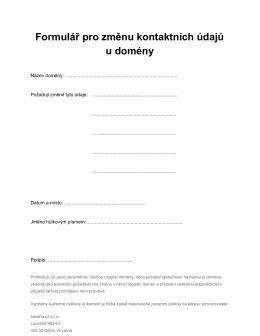 Formulář pro změnu kontaktních údajů u domény