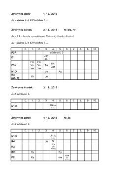 Změny na úterý 1. 12. 2015 E1 - učebna č. 4, E3N učebna č. 1