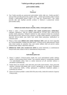 Vnitřní pravidla pro poskytování pečovatelské služby