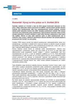 Komentář: Vývoj na trhu práce ve 4. čtvrtletí 2014