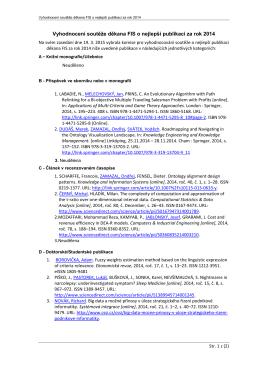 Vyhodnocení soutěže děkana FIS o nejlepší publikaci za rok 2014