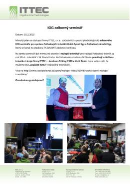 IOG odborný seminář - ocenění nejlepšího trávníku roku 2014.
