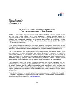 Citibank Europe plc, organizační složka 23. července 2015 Citi již