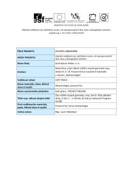 Meteorologie - pracovní list
