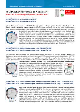 RF SPÍNACÍ AKTORY 10 A a 16 A xComfort Nová EATON technologie