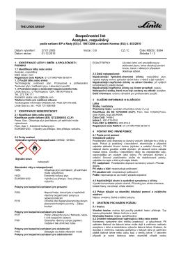 Bezpečnostní list Acetylen, rozpuštěný