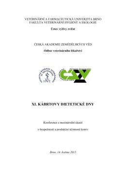 XI. Kábrtovy dietetické dny - Fakulta veterinární hygieny a ekologie
