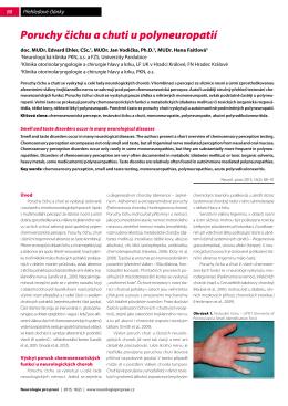 Poruchy čichu a chuti u polyneuropatií