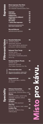 Filtrovaná káva S peciality Espresso