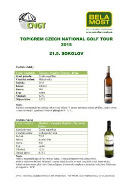 Popisy vín v ochutnávce na akci TOPICREAM CZECH NATIONAL