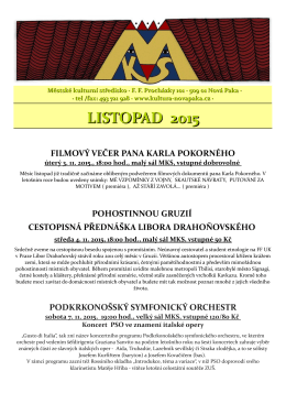 PROGRAM NA LISTOPAD
