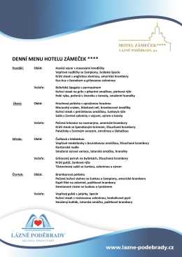 Denní menu hotelu Zámeček Po – Čt