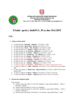 Úřední zprávy č.29 - Jihomoravský krajský fotbalový svaz