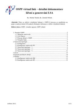 OSPF virtual link – detailní dokumentace šíření a generování LSA